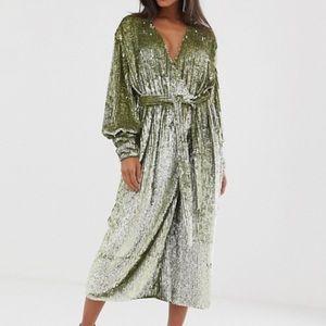Asos green sequin midi wrap robe dress